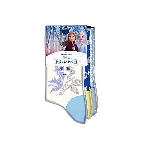 Kids Licensing | Calcetines Infantiles - Calcetines Diseño Frozen II - Estampado Elsa - Personajes Disney - Tejido Transpirables - Elástico en Arco Licencia de Producto Oficial