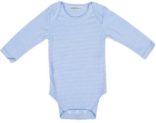 Verdebimbi VB3021 Body de algodón ecológico, cuello americano, manga larga azul claro 12-18 Meses