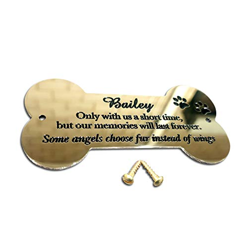 Bone shaped plaque 4' x 2' solid brass engraved nameplate. Personalised engraved pet memorial plaque