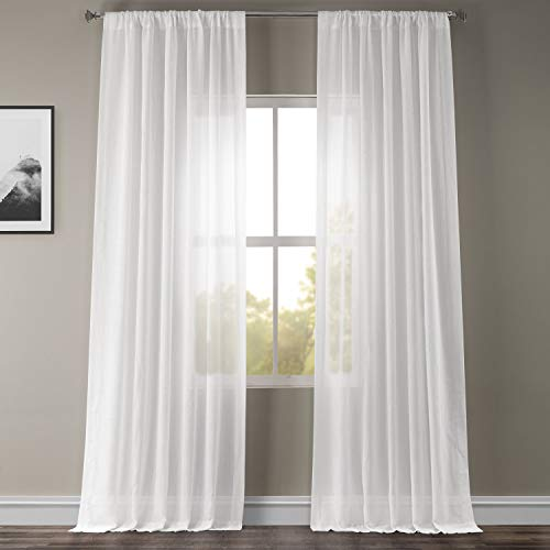 HPD Half Price Drapes SHFLNCH-M011-120 Faux Linen Sheer Curtain (1 Panel), 50 X 120, White Orchid