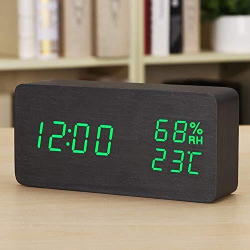 Alarm digitale projectie, dimbaar LCD met dubbel alarm opladen via USB-poort 12/24 uur, kamertemperatuur/power alarm/tijd alarm clock (Color : White)