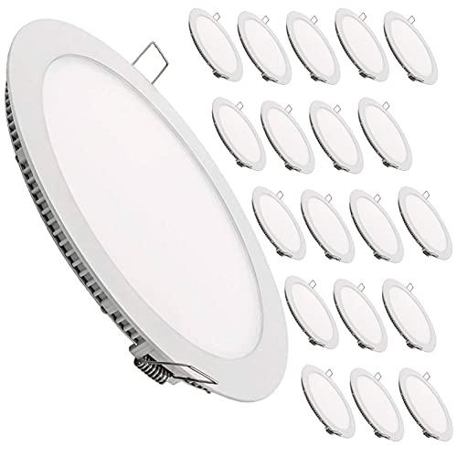 Panneau de Downlight LED rond plat, 18W. 1600 lumens réels. Pilote inclus. (Blanc froid (6500K), pack 20x)