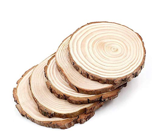 5pcs 5'-6' Unfinished Natural Wood Slices Circles with Tree Bark Log Discs for DIY Craft Woodburning Christmas Rustic Wedding Ornaments 5 Piece