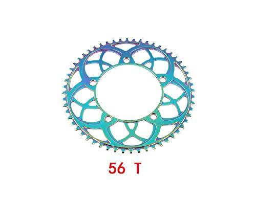 Narrow Wide Bike Single Chainring 130 BCD 54T/56T Round,Black/Red,Perfect for Road Bikes, Mountain Bikes, BMX MTB Bike (54 T)