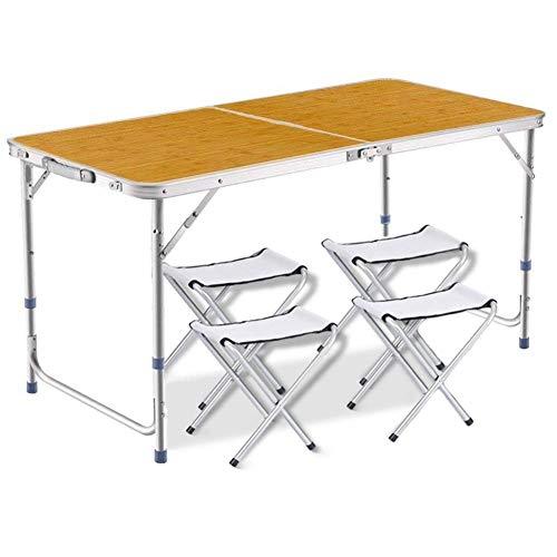 DesertFox アウトドア 折りたたみ テーブル 高さ3段階調整可能120×60×(55-62-70)cm 3WAY自由に高さ調整可能ピクニック レジャー キャンプ用 (3つの高さ55cm/62cm/70cm/竹の色/チェア×4個付き)