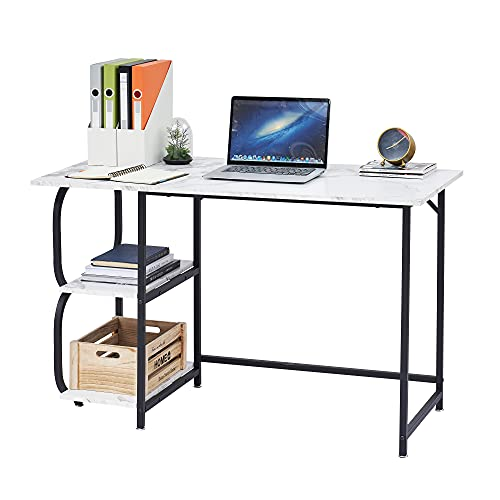 HOMOPIV Escritorio, mesa de ordenador con 2 estantes, mesa de oficina estable, mesa de mármol blanco con marco de metal negro, mesa para oficina en casa, despacho, sala de estar, 120 x 60 x 75 cm