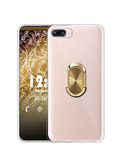 Sunrive Funda para XIAOMI MI 5, Silicona Transparente Gel Carcasa Case Bumper Anti-Arañazos Espalda Cover Anillo Kickstand 360 Grados Giratorio(A4 Dorado) + 1 x Lápiz óptico