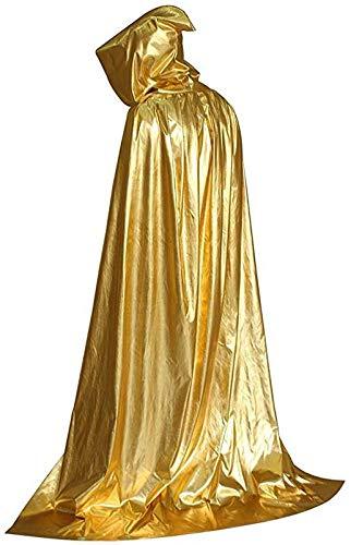 byou Capa con Capucha,Capa de Halloween Oro Larga Capa de Vampiro Diablo con Capucha para Mujeres Hombres Halloween Fiesta Disfraces