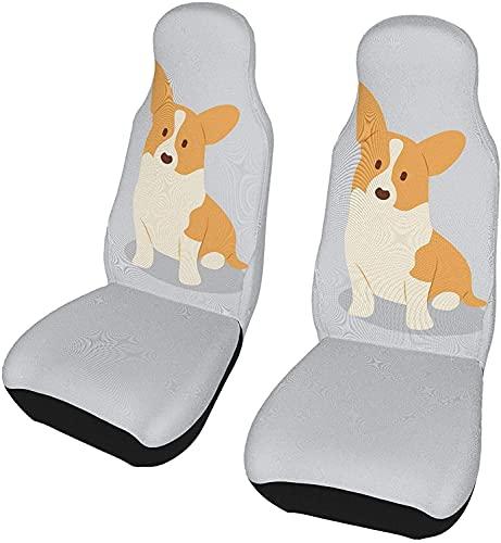 2 Stks Auto Stoelhoezen Decoratieve Voertuig Seat Front Protector Auto Mat Covers Kussens, Fit Meeste Autos, Sedan, Kofferbak, SUV, Leuke Corgi Hond Op Grijs 2 PC Auto