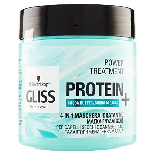 Gliss - Mascarilla Proteína 4 en 1 Manteca de Cacao, Proteína para tu Cabello, Fórmula Vegana y sin Colorantes Artificiales, Cabello Dañado y/o Seco, Azul, 400 mililitros