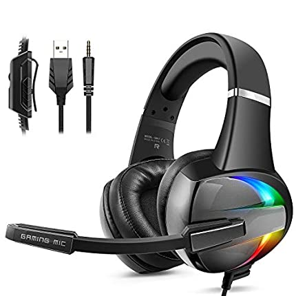 Cascos PS4, Auriculares con Micrófono Flexible, 50mm Driver Estéreo Envolventes, Orejeras Cómodas Iluminación RGB para PS4 Xbox One PC Tablet