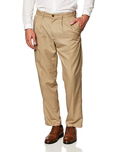 Amazon Essentials Expandable Waist Classic-Fit Pleated Dress Pants Pantaloni, Khaki, W38 / L34