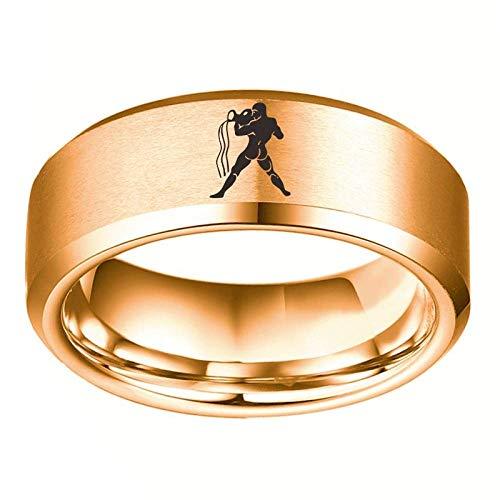 Stijlvolle eenvoud ringen 12-sterrenbeelden Aquarius Collectie Ring Hoge Kwaliteit Legering Ring voor Mannen Vrouwen Perfect Cadeau/Blauw/Nummer 10, ZS Number 13 Rosegoud