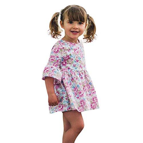 Vovotrade® Toddler Bébé Filles Baby Girls Prin Impression Volants Manches Demi Robe d'Été Jupe Tenues Vêtements Dress Summer Skirt (Pink, 12M)