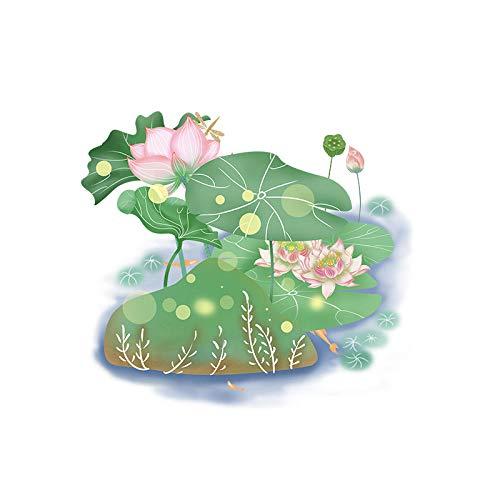 Rmbearmoni Wc-deksel Sticker Bloeiende Lotus Klassieke kunst Woonkamer Muurstickers Fotobehang Creatief Toilet Wc Decor