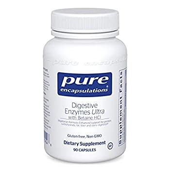 Pure Encapsulations Digestive Enzymes Ultra with Betaine HCl   Vegetarian Digestive Enzymes to Support Protein Carbohydrate Fat Fiber and Dairy Digestion*   90 Capsules
