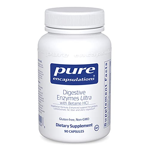 Pure Encapsulations Digestive Enzymes Ultra with Betaine HCl | Vegetarian Digestive Enzymes to Support Protein, Carbohydrate, Fat, Fiber, and Dairy Digestion* | 90 Capsules