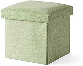 Yxsdd Foot Stool Stool Folding Storage Box with Lid Square Pouf Shoe Stool Stool Bench Upholstered Footstool Linen Fabric ...