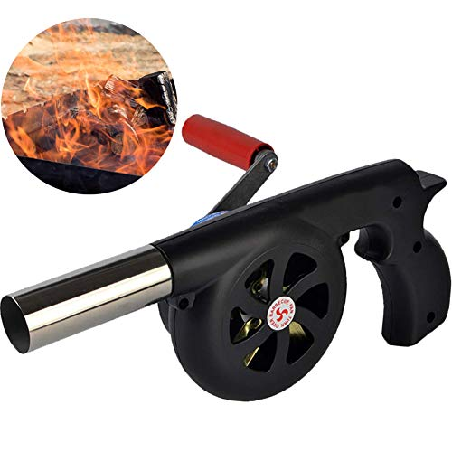 GkGk Hand Crank BBQ Fan, Portable Barbeque Air Blower with Manual Handle Speed Control and Metal Fan Blade for Outdoor Barbecue Fire Bellow, Camping and Hiking Picnic