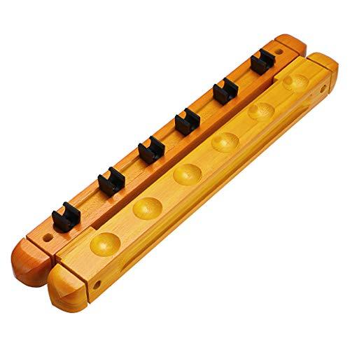 IGNPION Ein Set Billard-Queue-Halterung aus Holz mit 6 Queue-Clips für Billard, Snooker-Zubehör, Gelb