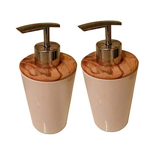 EQT-TEC 2 Stück Set Hochwertiger Design Seifenspender aus weißem Porzellan und Olivenholz Spender