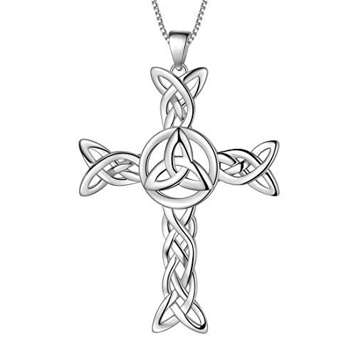 Aurora Tears 925 Sterling Silver Celtic Knot Cross Irish Necklace Women Men Celtick Jesus Cross Pendant Infinity Celtic Cross Irish Knot Religious Jewellery DP0290W
