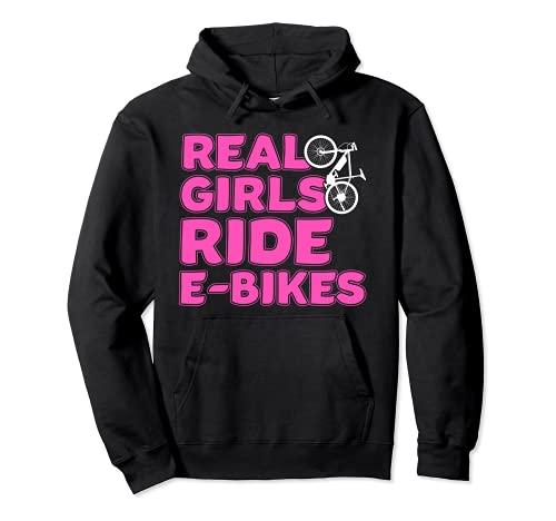Las chicas reales viajan en bicicleta e-bicicleta Sudadera con Capucha