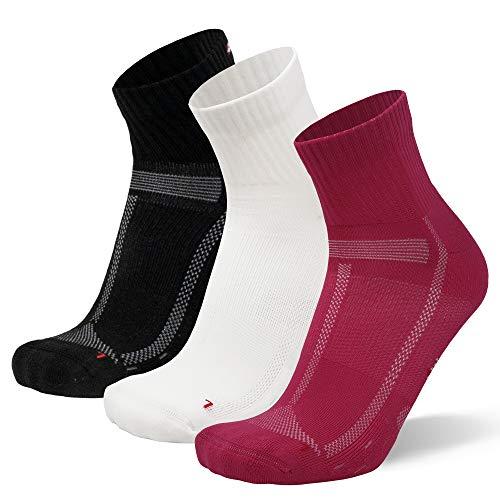 Calcetines de Running para Largas Distancias, para Hombre y Mujer Pack de 3 (Multicolor (1x Blanco, 1x Negro, 1x Rosa), 43-47)