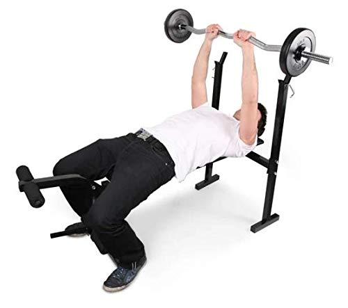 Klarfit FIT-HB4 Banco de musculación (Banco para Pesas y Entrenamiento con Barra, Flexiones, Curler piernas, reposa Barras, Peso máximo 160 kg, Acero, Acolchada, Respaldo) - Negro