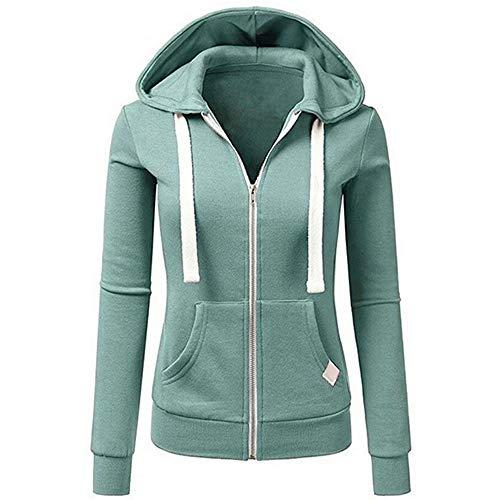 BOLANQ Jacke Damen Sweatjacke Hoodie Sweatshirt Oberteile Damen Pullover Kapuzenpullover Pulli mit Reissverschluss(Large,D-Gelb)