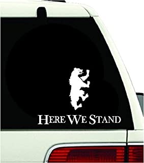 """Game of Thrones Houses Mormont Here We Stand Vinyl Sticker Decal HBO TV Series For Decor Car Mac Laptop (5.5"""" inches, White)"""
