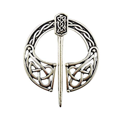 Viking Pin Small Clasp Clothes Cloak Pin Celtic Shawl Scarf Brooch Silver Color For Women Girl