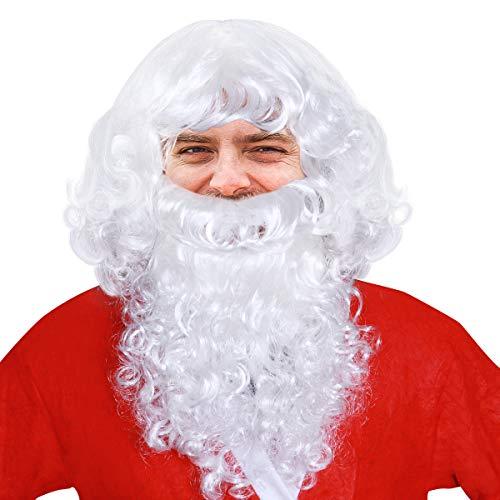 NUOLUX Christmas Wigs and Beard White Santa Fancy Dress Costume