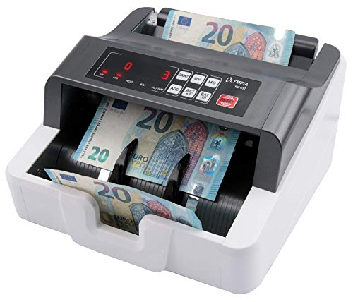 Olympia NC 452 Akku Geldzählmaschine & Geldscheinprüfer (für Scheine, Echtheitsprüfung, Additionsfunktion, LCD-Display, Geldscheinzähler für Euro, Dollar, Pfund etc., mit Update-Funktion)