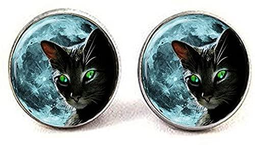 Orecchini in vetro vintage con foto di gatto di stregoneria alla moda gioielli amici regali