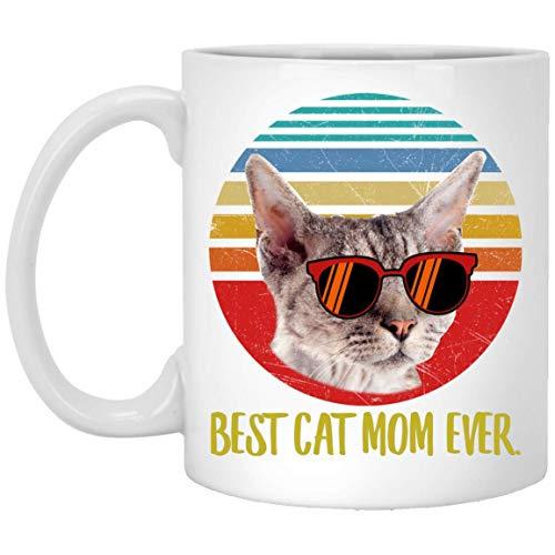 N\A Funny Best Devon Rex Cat - Taza de café Retro Gris Claro para mamá Ever Sunset, 11 oz