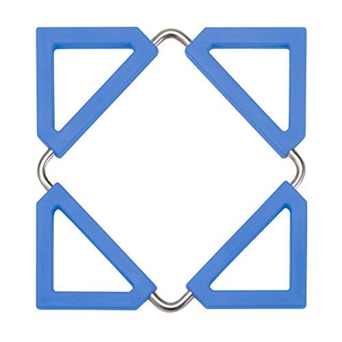 Smart Design Silicone Trivet & Pot Holder w/Steel Metal Frame - FDA Approved Material - Heat Resistant & Adjustable Size Design - Cooking Pans, Pots, Bowls - Kitchen (5-6.25 Inch) [Blue]