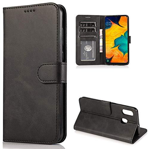 CTIUYA Schutzhülle für Samsung Galaxy A20E, Hülle Handyhülle Leder Klapphülle Handytasche Flip Brieftasche Schutzhülle Magnet Wallet Hülle Tasche Lederhülle für Samsung Galaxy A20E,Schwarz