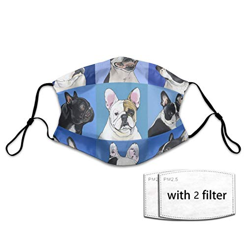 Men Women Face Mask Balaclava French Bulldog Art Dust-Masks With 2 Filter Adjustable Elastic Mouth Cover For Shopping, Travel, Party