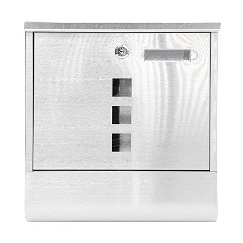 Cylficl Buzón de Acero Inoxidable Buzón de Pared Exterior Caja de periódico Caja de Papel de Aluminio Impermeable Exterior