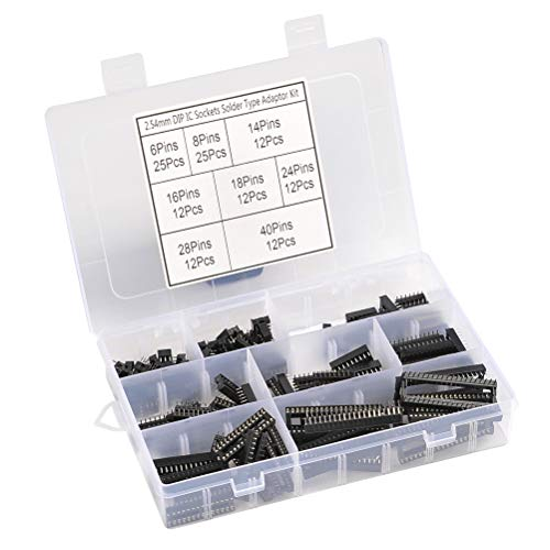 QLOUNI 2,54mm Passo Doppia Fila DIP IC Socket saldatore tipo Set adattatore kit di saldatura presa IC con 6, 8,14,16,18, 24, 28, 40 Pin