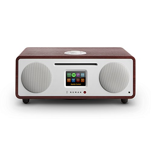 NUMAN Two 2.1, Design Internet Radio, DAB/DAB+ / UKW-Tuner, CD, Spotify Connect, TFT-Display, RDS, Wi-Fi/LAN-Konnektivität, Bluetooth, AUX, 2 Breitbandlautsprecher, Radiowecker, wenge