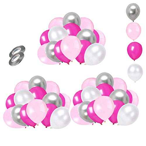 Pink Silver and White Balloons 60 pcs 12 inch Rose Red Latex Balloons Silver Metallic Balloons for Party Birthday Wedding Baby Shower Decorations