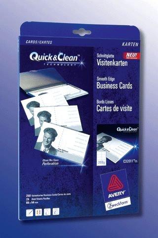 Visitenkarte A4 Bg 210G Blanko Mp 85X54Mm 25X10 für Inkjet Laser+Kopierer C32011-25
