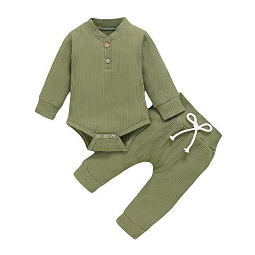 rongweiwang Traje del algodón del bebé recién Nacido Traje de Manga Larga de Manga Larga Ropa para bebé, Botón de 90 cm, Verde del ejército