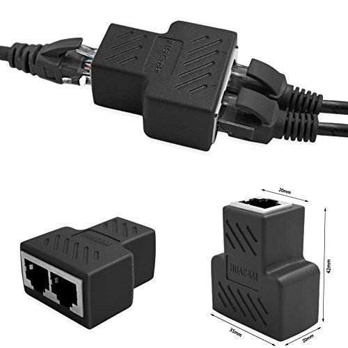 HUACAM HCM67 RJ45 Splitter Adapter 1 to 2 Dual Female Port, Cat 5 / Cat 6 / Cat 7 LAN Ethernet Socket Splitter Plug Adapter with Shield [Anti-Signal Interference]