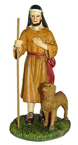 Figuras Belén: pastor con perro colección Martino Landi para pesebre de 12 cm