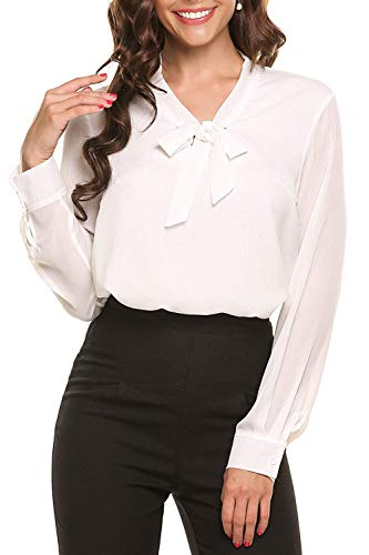 Womens Bow Tie Neck Long Sleeve Casual Office Work Chiffon Blouse Shirts Tops White