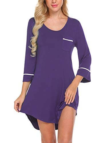 Ekouaer Women Sleepshirt Gifts for Her Sexy Nightgown Boyfriend Nightdress Purple S