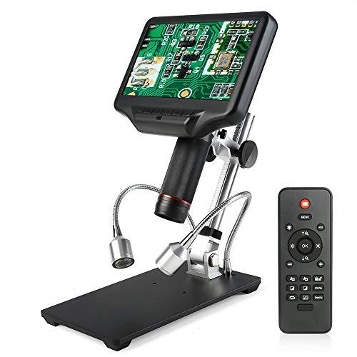 CNMJI LCD Digital Mikroskop,7 Zoll 1080P HD Digital Microscope Kamera Video Recorder 270X Vergrößerung Zoom Nachladbare Batterie Endoskop Mit 8 Einstellbare LEDs Für Reparatur Löten